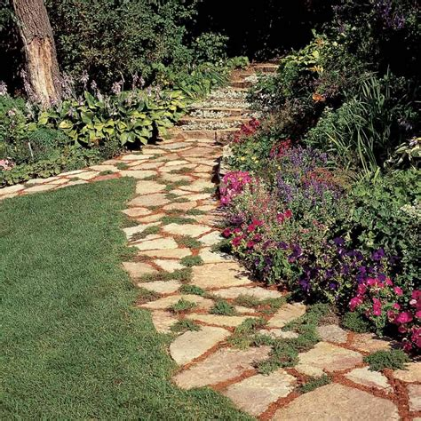 Affordable Garden Path Ideas The Family Handyman | discount furniture slate stepping stone walkway staircase
