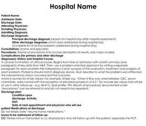 discharge letter from hospital template discharge summary templates 4 sles to create