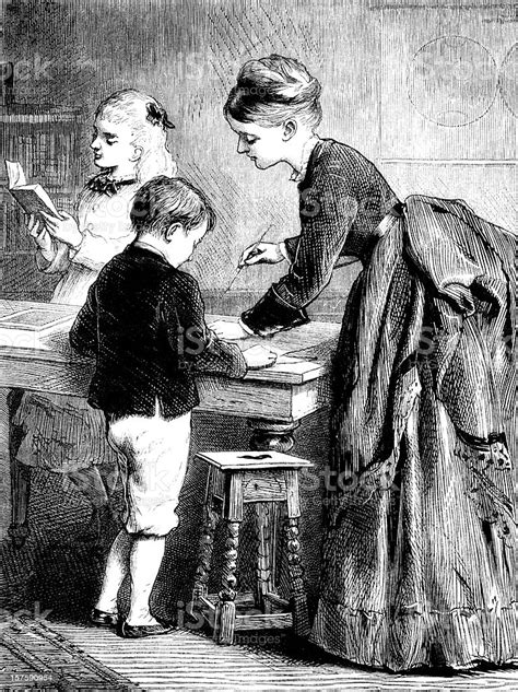Victorian Mother Or Governess Teaching Children Stock