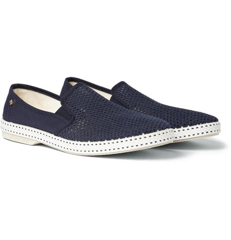 cotton shoes rivieras cotton mesh slip on shoes in blue for lyst
