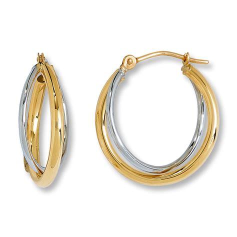 jared criss cross hoop earrings 14k two tone gold