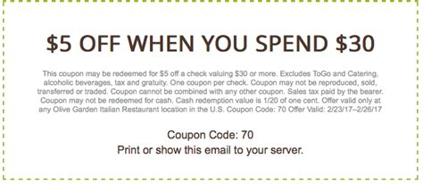 olive garden coupons befrugal olive garden 5 off 30 with printable coupon this