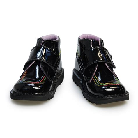 kickers infants kick kilo black patent leather boots