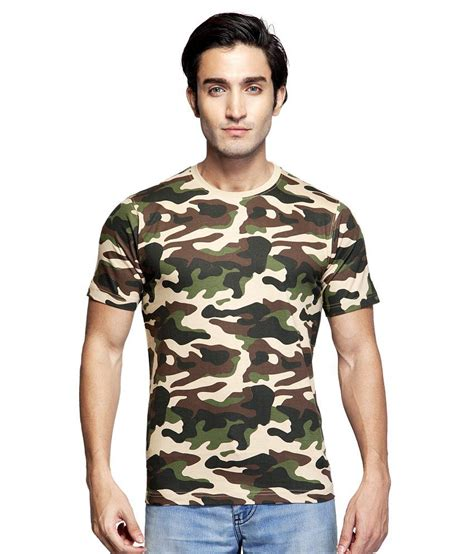 clifton brown cotton neck army printed t shirt buy clifton brown cotton neck army