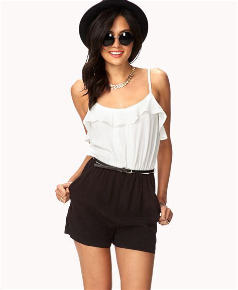 romper bathroom ruffled combo romper w belt from forever 21 clothes misc