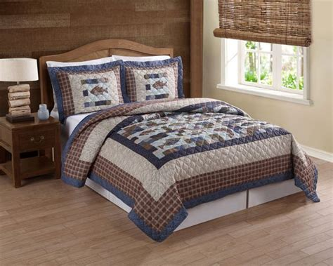 fishing comforter set every avid angler will love this fishing themed quilt set