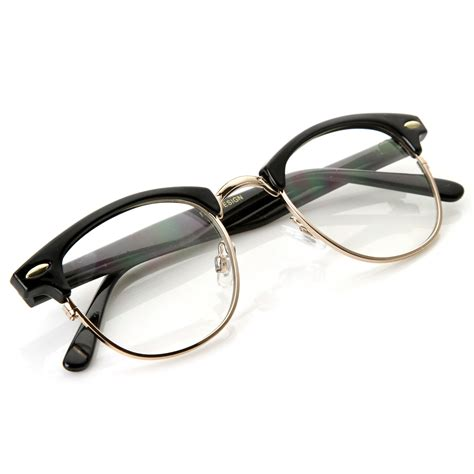 Lens Glasses optical quality horned clear lens rx able half frame