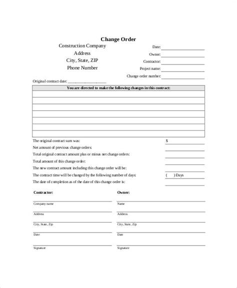 change order template free sle free printable order form 9 exles in word pdf