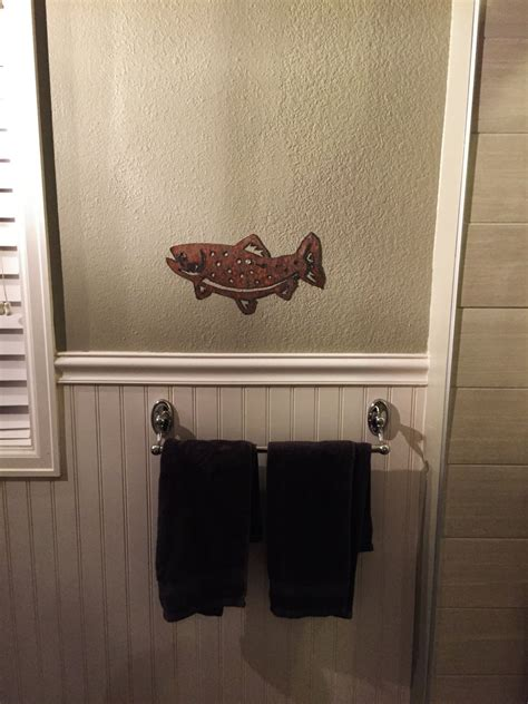 fly fishing bathroom decor brown trout wall art fishing decor bathroom artwork