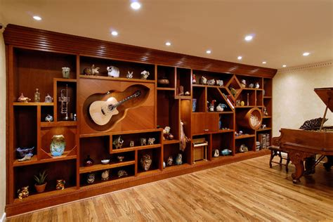 custom wall unit that is in and of itself eclectic
