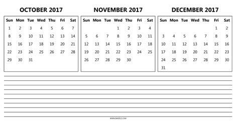printable calendar 2017 oct nov dec printable calendar 2017 october november december