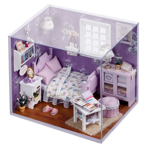 mini doll houses new dollhouse miniature diy kit with cover wood toy dolls