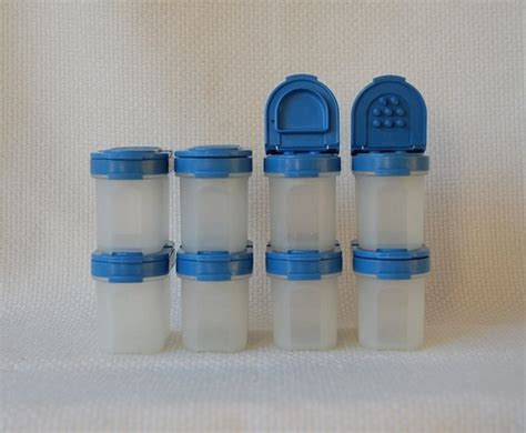 Tupperware Small Fany N Fresh vintage tupperware spice shaker containers light blue seals 8