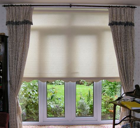 Spectacular White Shade Over Valance And Double Gray