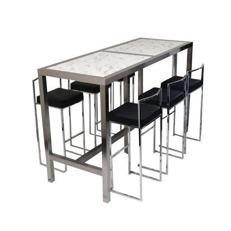 High Bar Table 6 Stools Black Set