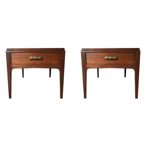 Mid Century Modern Bedside Tables by Pair Of Single Drawer Mid Century Modern Walnut
