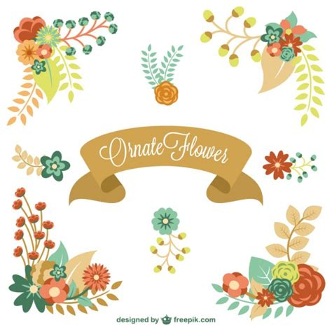floral elements vector free download