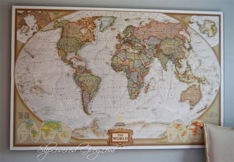 how to hang a map without a frame world map wall art slipcovered grey
