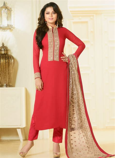 color pattern salwar suit buy drashti dhami cherry color georgette straight cut