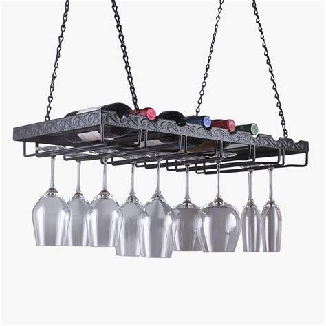 Metal Hanging Wine Glass Rack wine enthusiast 13 3 4 in w x 2 3 4 in h x 26 in d metal hanging wine glass rack 570 25 10