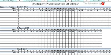 vacation time calendar template employee vacation tracking beneficialholdings info