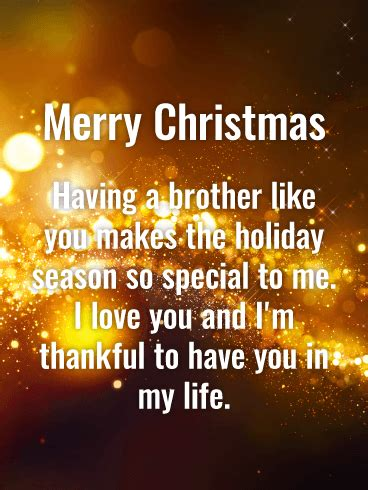 stunning golden merry christmas wishes card  brother birthday greeting cards  davia