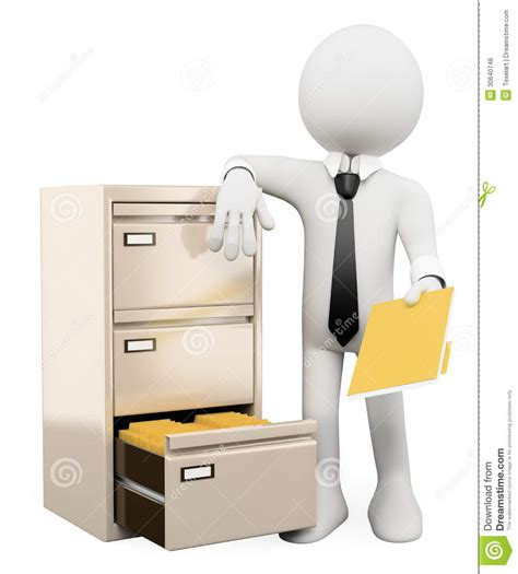 3D White People. File Cabinet Royalty Free Stock Image