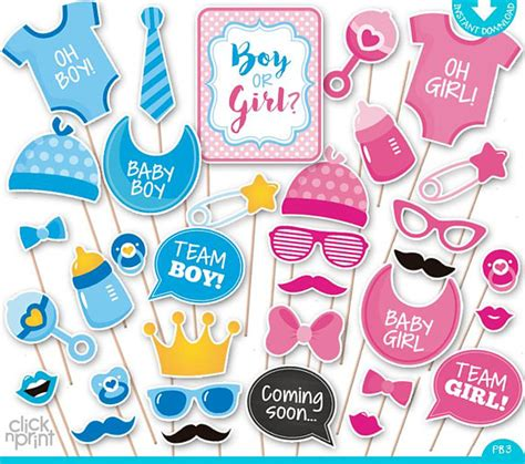 free printable gender reveal photo booth props gender reveal baby shower print yourself photo booth props