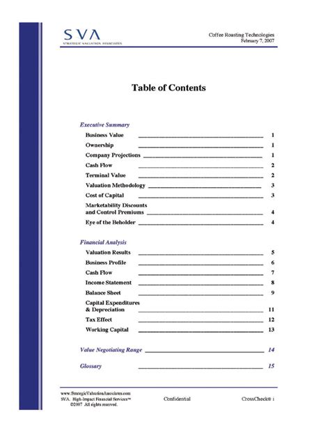 report content page template sle of table of contents new calendar template site