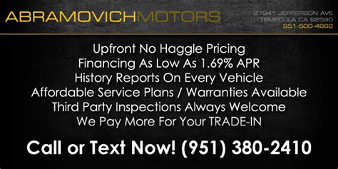 abramovich motors murrieta ca read consumer reviews browse    cars  sale