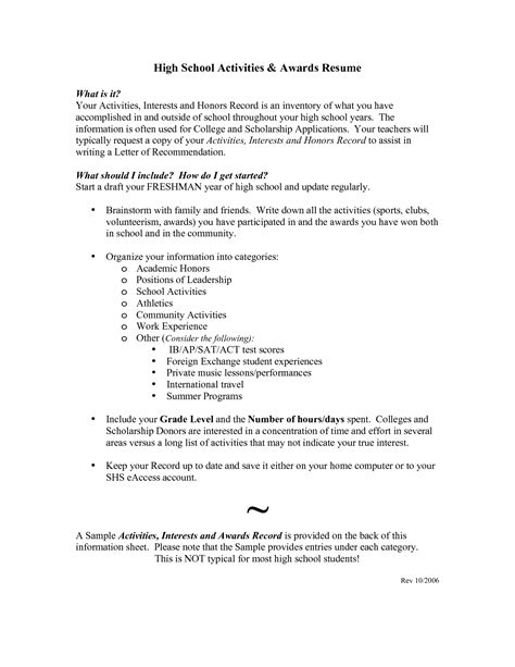 High School Student Resume For College Admission by Exle Resume For High School Student For College