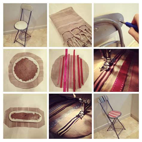 creative ribbon diy project covering a stool means