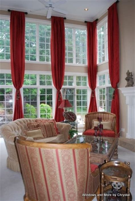 two story drapery panels two story windows story panels on short rods with