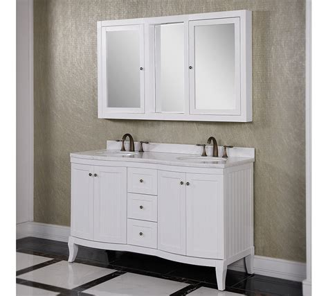 accos 60 inch white double bathroom vanity cabinet with