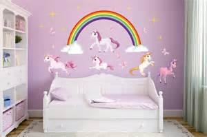 Girls White Bedroom Set wandtattoo einhorn set