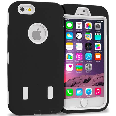 for apple iphone 6s 4 7 hybrid armor cover with built in screen protector ebay
