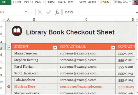 Library Book Check Out Sheet For Excel Excel Library Template