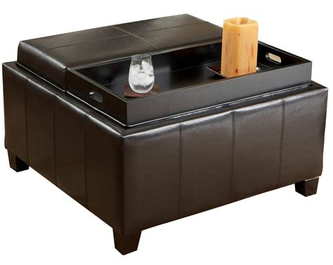 black ottoman coffee table with storage and trays