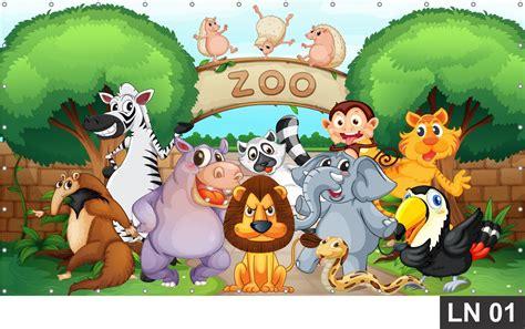 imagenes de animales de zoologico animados painel de anivers 225 rio zool 243 gico 3 00x1 60m festa lona