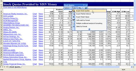 stock quotes for excel 4 5 4 screenshots
