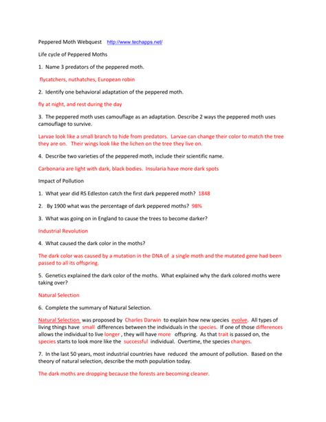 Peppered Moth Simulation Worksheet Answers by Peppered Moth Simulation Worksheet Answers Deployday