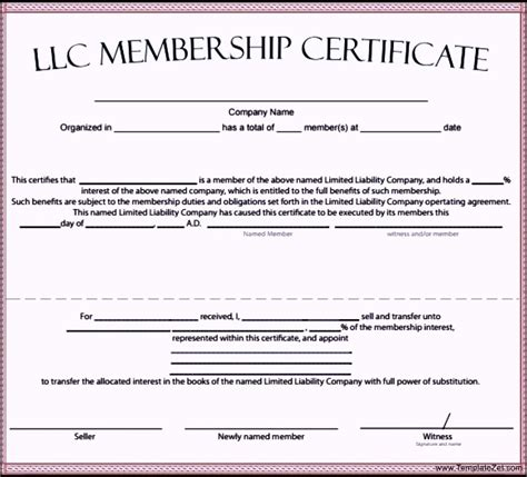 Llc Membership Certificate Template Word llc membership certificate template templatezet