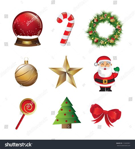 what is the sybolises cgristmas tree symbols like santa claus tree snowball white background stock