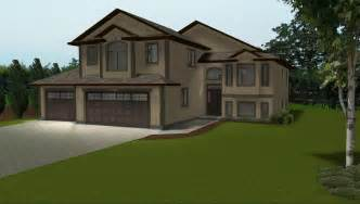bi level house plans with attached garage 3 car garage on house plans by e designs 2