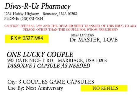 prescription for fun a free printable romance idea