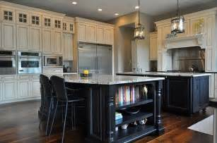 Dark Kitchen Island Dark Island W Cream Colored Cabinets Silver Hardware