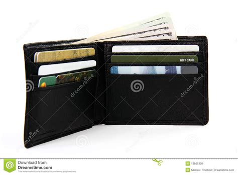 Gift Card With Money - full wallet with money and gift cards stock photo image 13661330