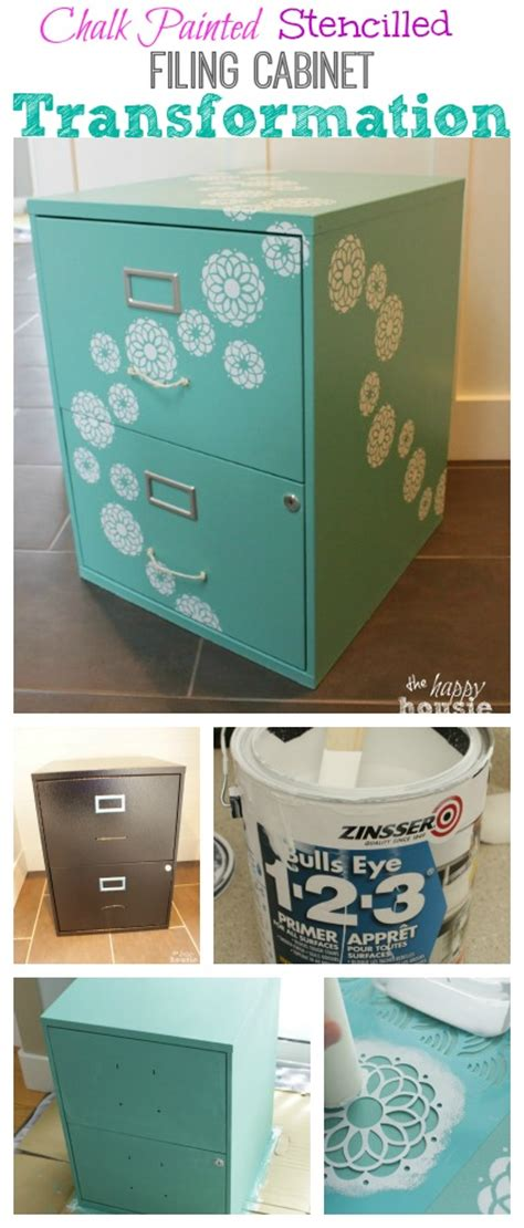 diy chalk paint metal one bliss fully flowered chalk painted stencilled filing