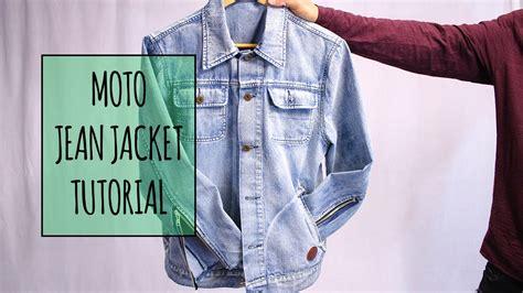 pattern jeans jacket denim moto zipper jacket tutorial youtube