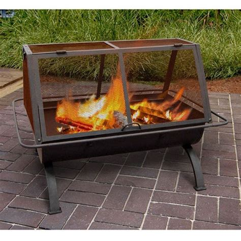 Outdoor Steel Fireplace by Outdoor Pit Wood Burning Rustic Heater Patio Black